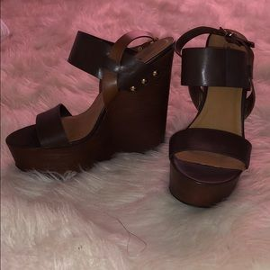 Brown wedges, never worn